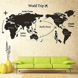 World map removable travel vinyl art wall sticker room decal mural image is loading world map removable travel vinyl art wall sticker gumiabroncs Choice Image