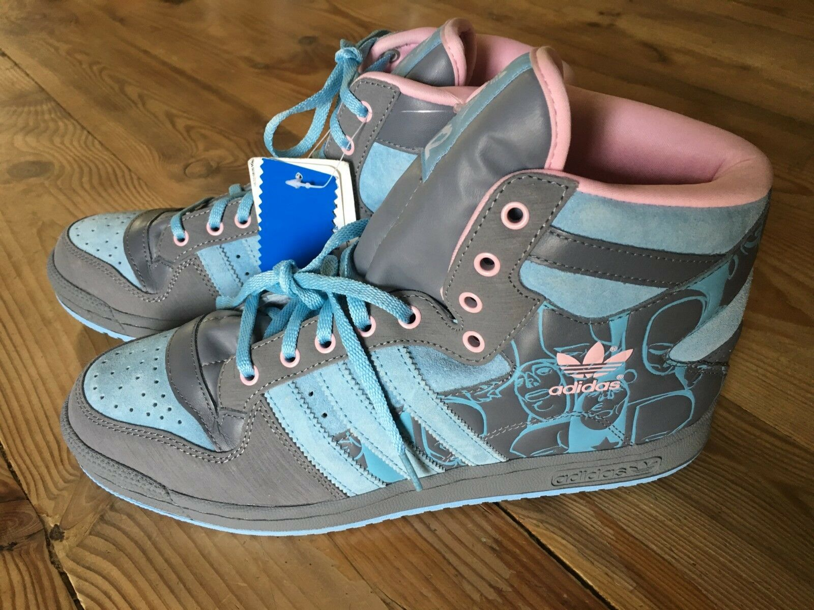 ADIDAS DECADE HI SHOES SAM FLORES UPPERS SNEAKERS bluee Pink RARE Sz 10