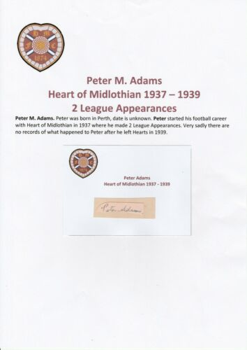 PETER ADAMS HEART OF MIDLOTHIAN 19371939 VERY RARE ORIGINAL SIGNED CUTTINGCARD
