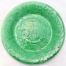 Antique Wedgwood Green Glazed Majolica Grape Vine Leaf Basket Plate c 1860