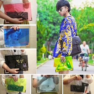 1x-Unisex-Envelope-Transparent-See-through-Clutch-Bag-Handbag-6-Vivid-Colors-Hot