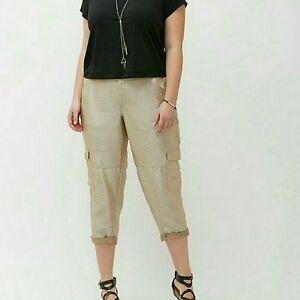 Lane-Bryant-Women-039-s-Gold-Shimmer-Satin-Cargo-Crop-Pants-Size-28