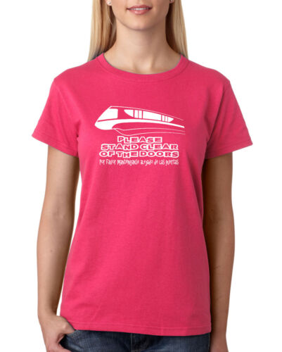 "Ladies Disney Monorail /""Please Stand Clear Of The Doors/"" Tshirt"