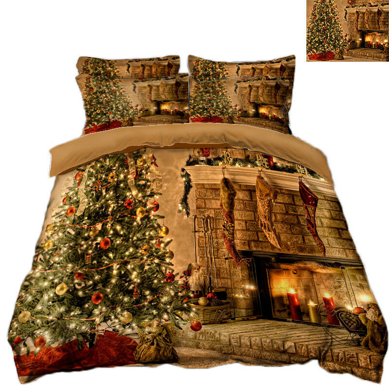 3D Christmas  Xmas Room 8 Bed PilFaiblecases Quilt Duvet Cover Set Single Queen UK