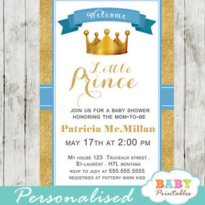 Blue and gold little prince baby shower invitations printable image is loading blue and gold little prince baby shower invitations filmwisefo