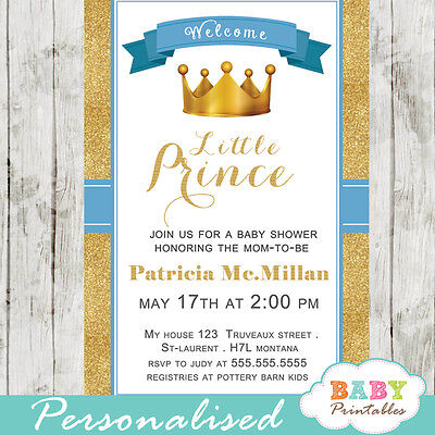 photograph about Printable Shower Invitations known as Blue and Gold Small Prince Youngster Shower Invites - Printable Electronic Record eBay