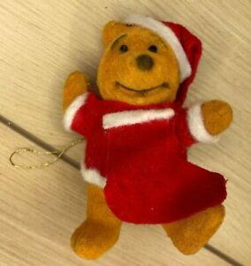 Vintage Winnie the Pooh Ornament lot plush and Flocked Disney 5 total 3.5
