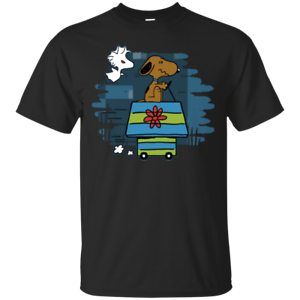 Peanuts Scooby-Doo Escape From Woodstock Evil Funny Black T-Shirt Charles Brown