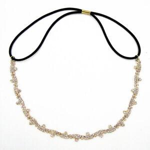 Women-039-s-Crystal-Rhinestone-Chain-Bridal-Wedding-Headband-Elastic-Hair-Band