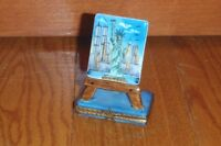 Rochard Limoges Easel Paint Of York Twin Towers Statue Of Liberty Box Rare
