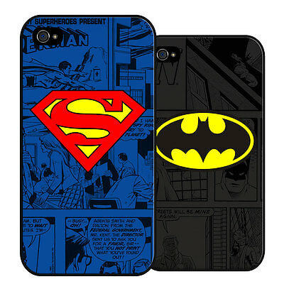 NEW Superhero - SUPERMAN or BATMAN Hard Case for iPhone / Samsung Gift Kids Fan