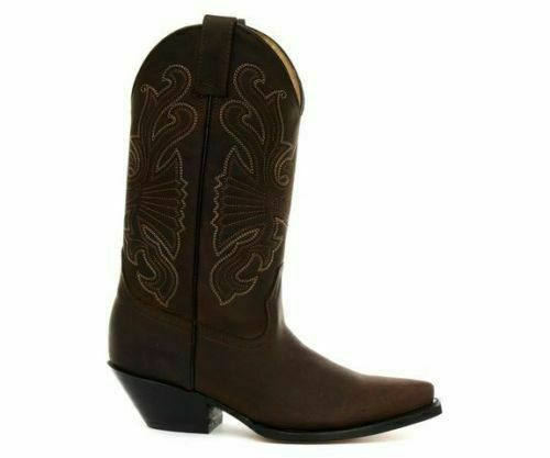 GRINDERS Buffalo Brown Real Pointed Cowboy Western Slip On UNISEX Leather Boots