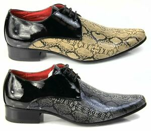 d782ff4c55 Details about Mens Italian Designer Dress Shoes, Snakeskin Pointed Leather  Lined Black Beige