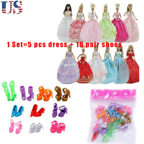 US Lot of 15 Pcs=5 Pcs Handmade Dresses & Clothes+10 Shoes for Barbie Dolls Gift