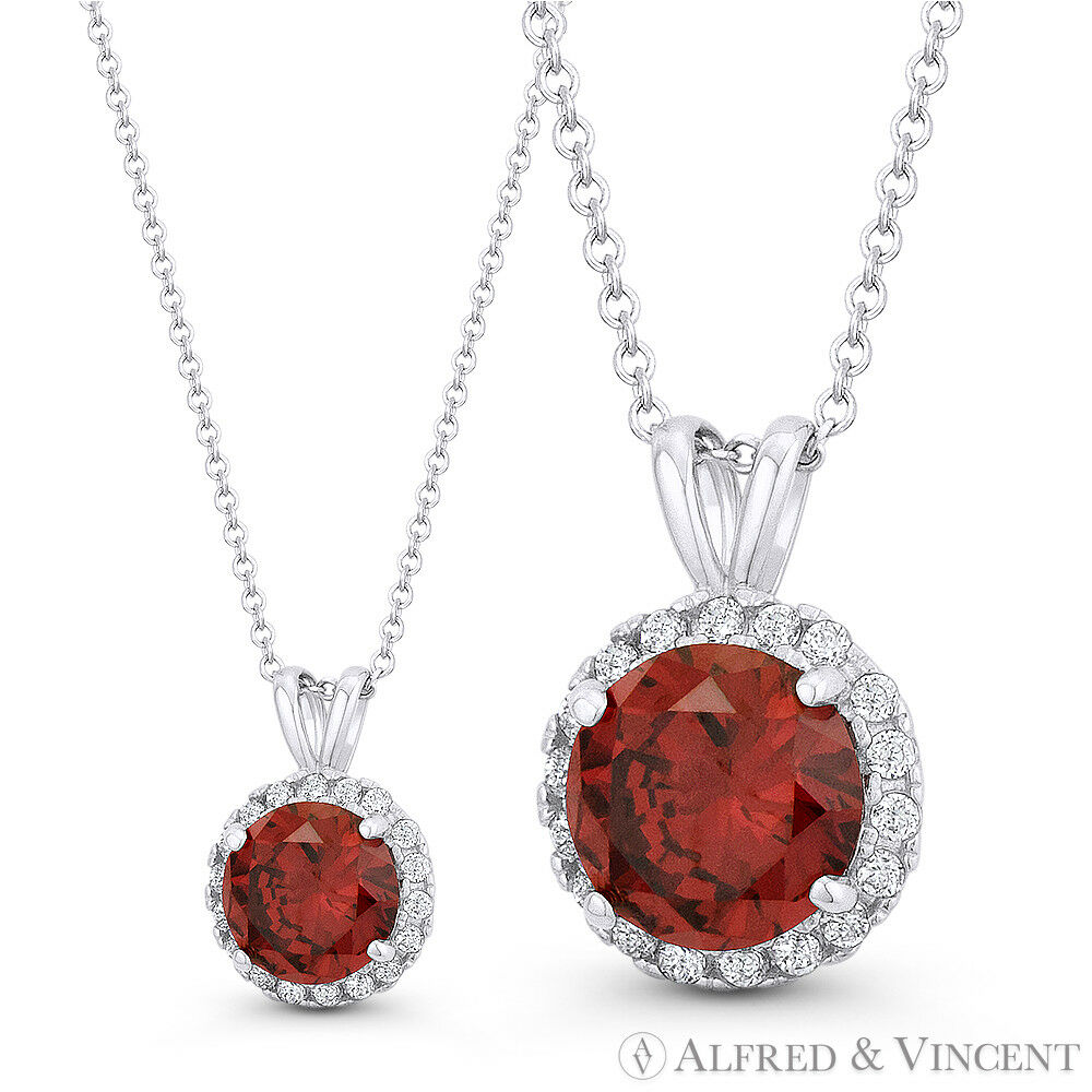 Faux Garnet Red & Clear Round Cut CZ Crystal 12mmx8mm Pendant in 14k White gold