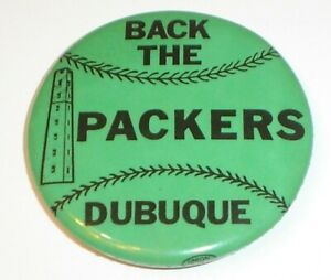 Vintage 1970's Back The Dubuque Packers Pinback Button (Iowa Baseball Team)