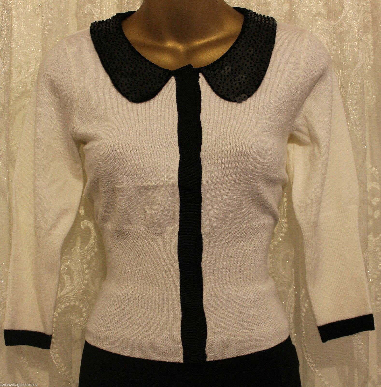 Karen Millen Contrast Embellished Collar Knit Cardigan Wool Jumper Top