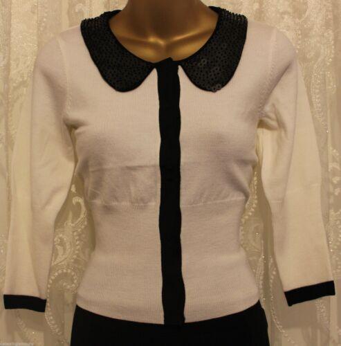 Karen Millen Peter Pan Collar Tailored Knit Cardigan Wool Jumper  8 10 12 £105