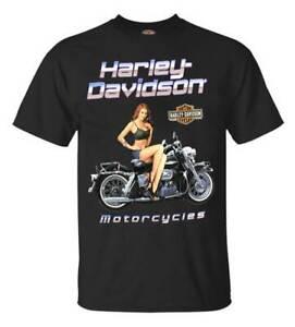 Harley-Davidson-Men-039-s-Black-Top-Pin-Up-Cotton-Short-Sleeve-T-Shirt-Black