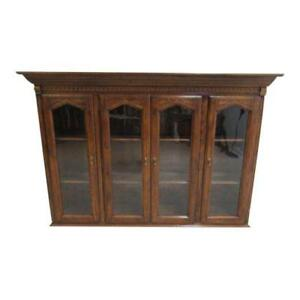 ethan allen charter oak jacobean china cabinet breakfront hutch top rh ebay com