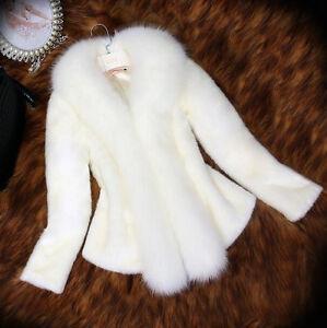 Details zu Neu Winter neue Damen Faux Pelz Mantel Warm Weiß Hochzeit Kunspelz Jacke XS 3XL