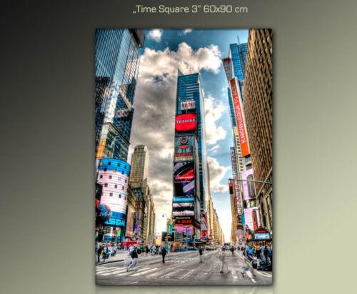 DESIGNBILDER 60x90cm WANDBILD Time Square auf Leinwand gerahmt Kunst