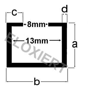 Alu C-Profil 11x17x4,5x2mm (6€/m) passend M8 Schraube / Mutter ELOXIERT 2m