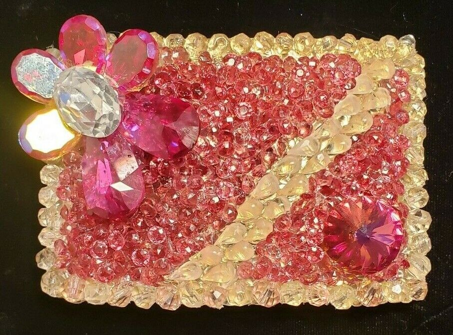 Belt Buckle Rhinestone Crystal Clear Pink Aurora Borealis Wendy Gell Style