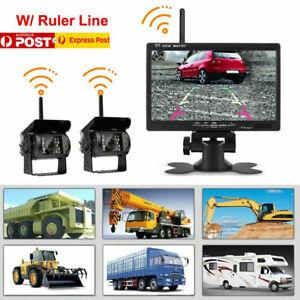 WIRELESS-7-034-MONITOR-REVERSING-CAMERA-REAR-VIEW-KIT-12V-24V-TRUCK-CARAVAN-Boat