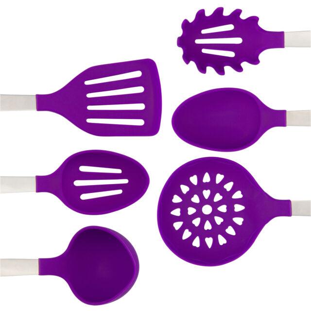 Purple Kitchen Utensil Set Stainless Steel Silicone Heat Resistant For Sale Online Ebay