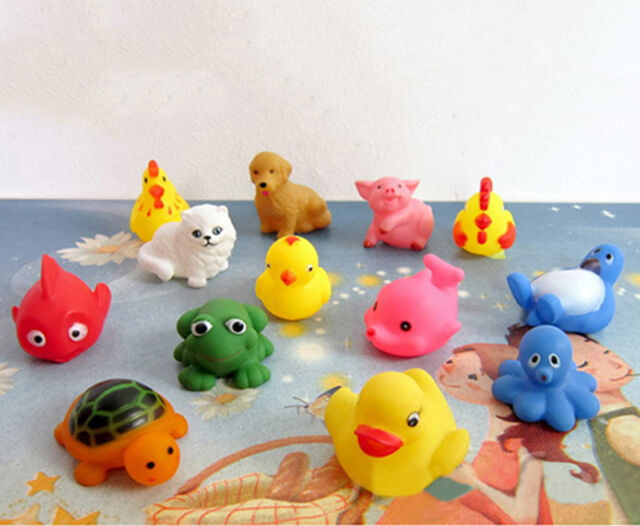 13pcs Animals Kids Toys Soft Rubber Float Sqeeze Sound Baby Wash Bath Play
