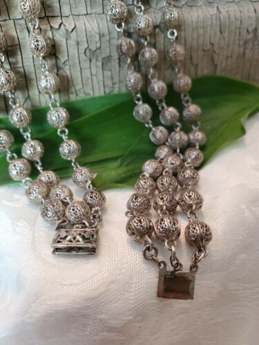 Details about  /SS Three Strand Bead Necklace,1940s Estate Necklace,Vintage Sterling Silver SS