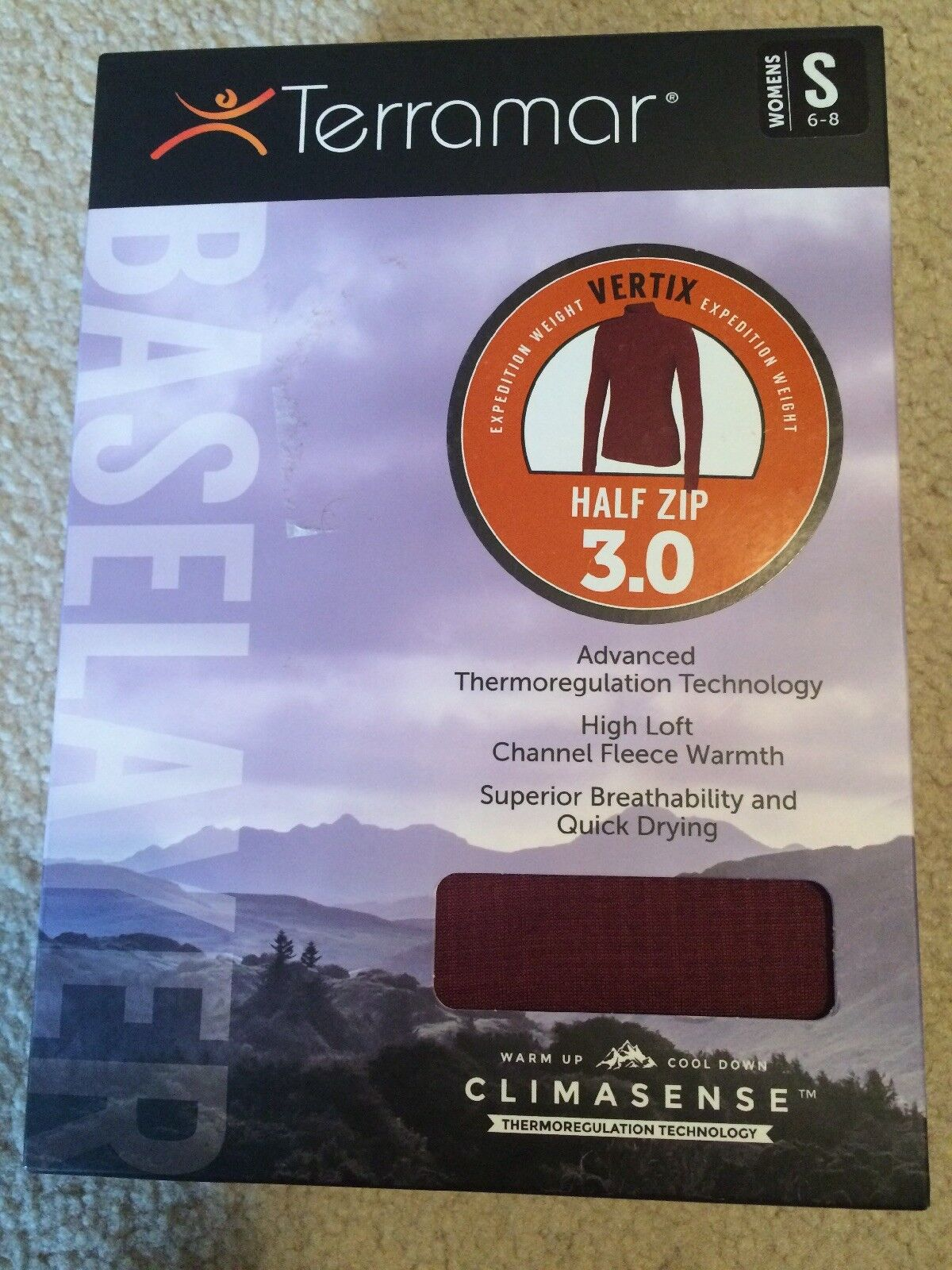 Terramar Womens 3.0 BaseLayer S Merlot greenex Climasense Top Half Zip Long Sleev