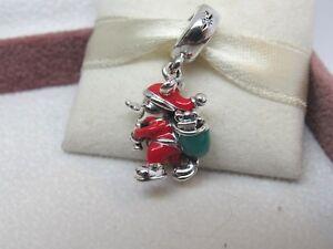 7929ab566 New w/Box Pandora Disney Santa Mickey & Gift Bag Christmas Charm ...