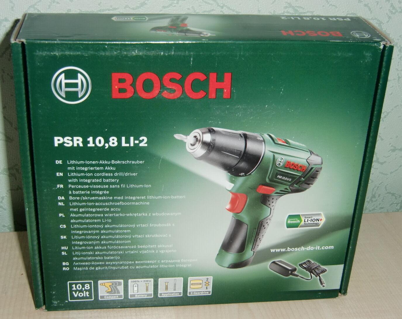 Bosch, PSR 10,8 LI-2, Lithium-Ionen-Akku-Bohrschrauber, neu und ovp