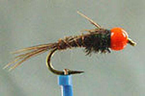 1 x Mouche Nymphe Faisan BILLE TUNGSTENE ORANGE H10 a 18 tungsten bead fly hare