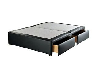 Double 4ft6 Black Leather Divan Bed Base Storage Draws Option Brand New Ebay