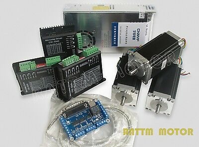 US Free 3 axis Nema23 stepper motor 425oz-in CNC controller kit