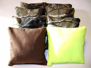 Realtree Camo Brown And Neon Cornhole Bean Bags 8 Tailgate