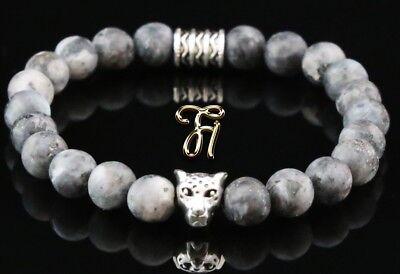 Abile Larvikit Grigio 8 Mm Bracciale Bracciale Di Perle Argento Testa Di Leopardo Sangue Nutriente E Regolazione Dello Spirito