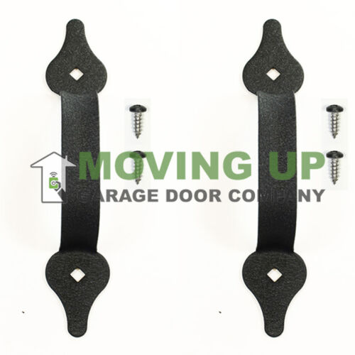 "Hardware Garage Door Decorative Lift Handles 8 3//4/"" Black Set of 2"