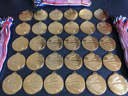 100x Junior Football Medals - Gold Metal With Ribbons