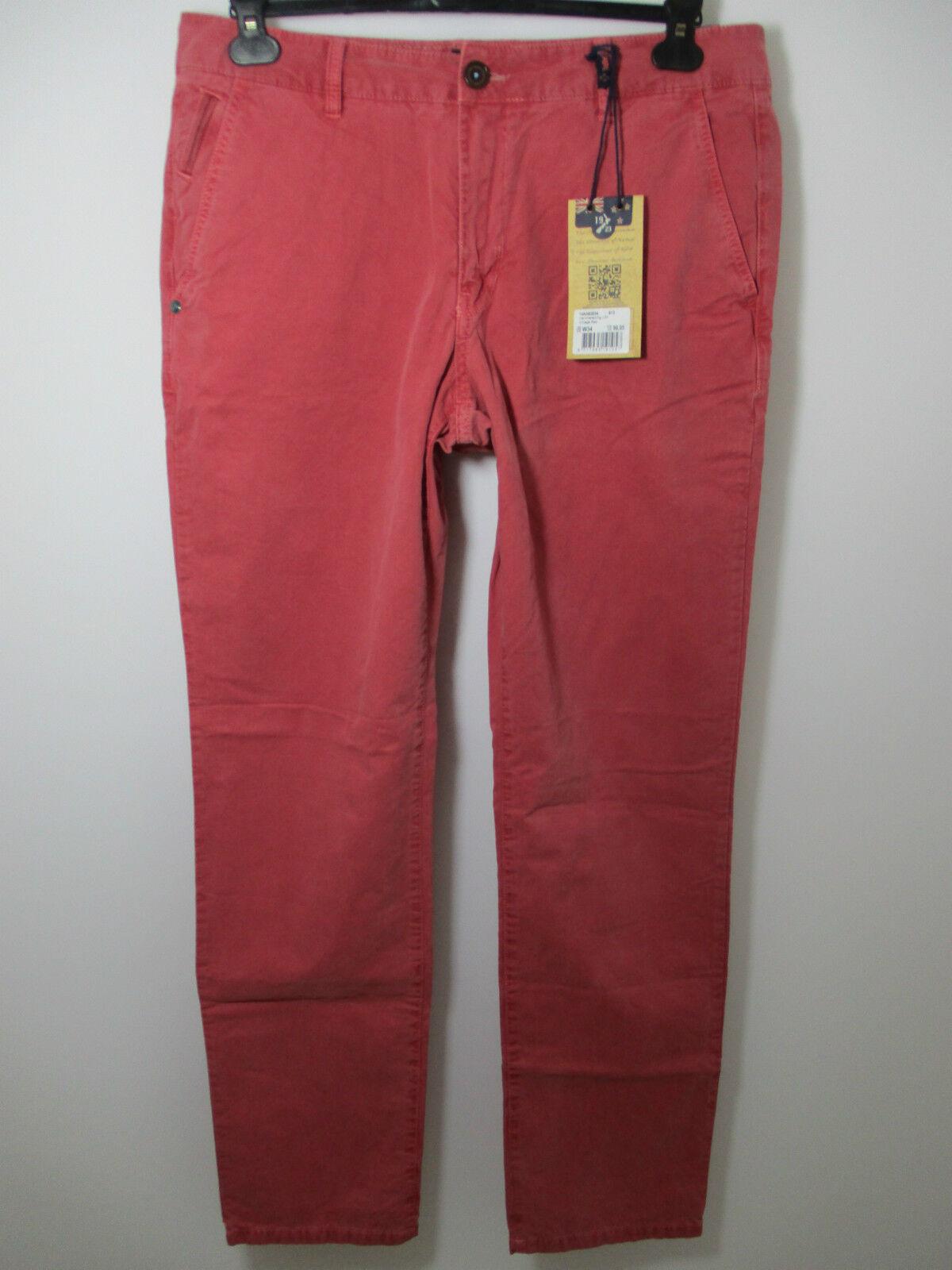 New Zealand Auckland  Chino Hose Hammerspring  Vintage Rot  Neu Grösse   32   36