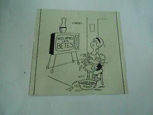 Humour-de-Presse-1966-Nos-amies-les-Betes-Femme-qui-plume-une-poule