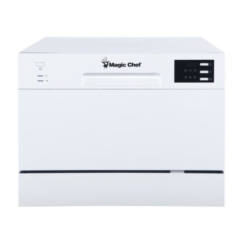 Portable Dishwasher Front Control White Compact Stainless Steel LED Display