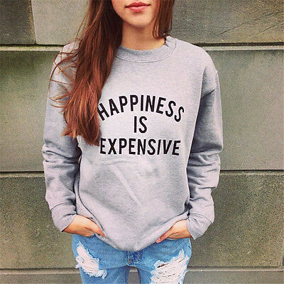 New Women Crewneck Long Sleeve Print Pullover Outwear Jumper Loose Sweater Tops