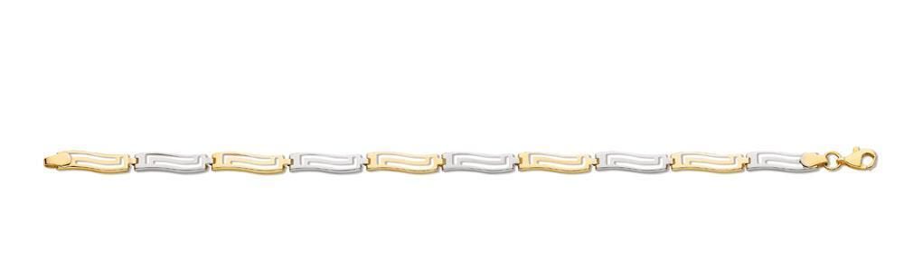 Solid 9ct gold White & Yellow 7  Greek Key Links Fancy Bracelet 2.3g Gift Boxed