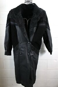 WILSONS-Vintage-Black-Leather-amp-Suede-Paisley-Floral-Trench-Jacket-Coat-PS-Small