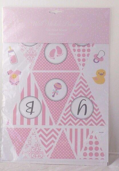 Acheter Pas Cher Sil Stickers Murales Baby Style Bannière Rose Ou Bleu