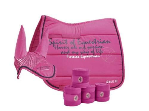 Busse, Spirit of Equestrian Saddlecloth, Ear Cover, Bandages Passion Pink, D,VS